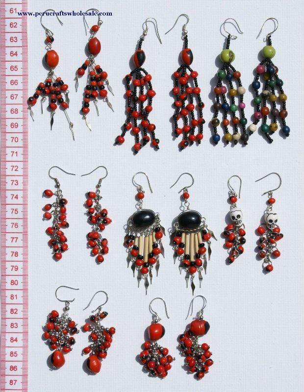 Cuelga gota de hecho a mano pendientes Red Tropical Seed Bead Huairuro Tribal Natural peruano de cuentas a la moda de la joyería venta al por mayor