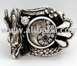Yin-Yang Diamond Dragon Sterling Silver Men&#39;s Rings Jewelry for Rocker Biker