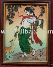 Young Elegant Lady & Deer, Gem Stone Art Painting, Handicraft