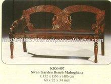 Swan Garden Bench Mahogany Indoor Furniture