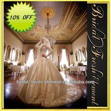 Hot Sale Long Good Quality Taffeta Lace Appliqued Long Sleeve Middle East Wedding Dresses