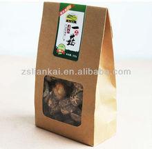 Kraft paper food bag for mushroom with a clear die cut window