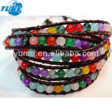 Hot Sale 5Wrap Leather Bead Bracelet/Colored Stone Bracelet For Chrismas Gift