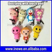 Cartoon Mini Touch Pen with earphone dust plug for iPhone/Samsung/iPad