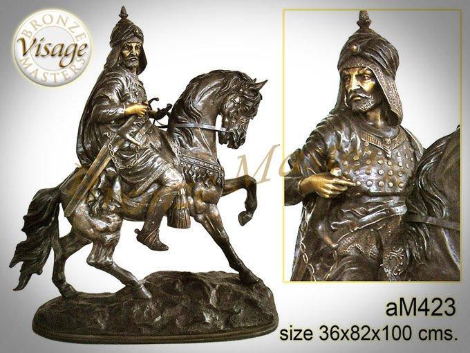 Bronze Arabian warrior on horse Sculpture