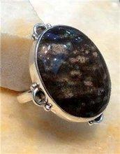 Bloodstone Jasper 925 Silver Ring Size UK/US P/8 R330