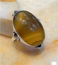 Honey Onyx Silver Ring Size UK/US Q/8.50 R273
