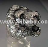 Leão cabeça de gato anel do dedo de prata 925 esterlina ou bronze polido