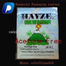Custom HAYZE ziplock potpourri bag/Different Size Spice blend Organics