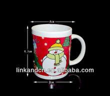 11oz standard ceramic snowman coffee mug with handle