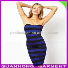 Lady Fashion Bodycon Sexy Midi Sundress In Stripe