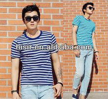 New Men's Slim dark blue summer sky blue pinstripe shirt sea striped shirt T02
