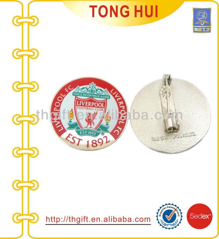 Football Club Logo Round Shape Metal Football Club Pin Badge With Printing Custom Logo