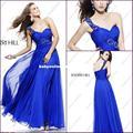 Sobre as vendas!! Frete grátis! Elegante um ombro royal azul vestidos de baile 2013 longa chiffon vestidos de noite custom jov 1528