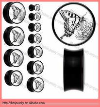 black logos penis plug ear body piercing jewelry ring butterfly acrylic
