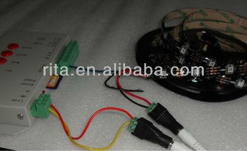 5m DC5V BLACK PCB WS2812B led pixel srip,IP65+t-1000s SD card controller+5V/5A power adaptor