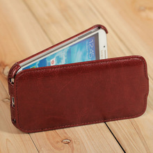 luxury genuine leather top flip mobile phone pouch for samsung galaxy s4 i9500