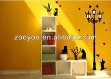 Black Cat & Street Lamp 3rd Generation 130*150 cm DIY Window Sticker Wall sticker Wandttattoo/ Decals Kids ZY030