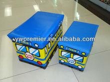 school bus pvc leather storage bench cartoon foldable storage chair kids toy