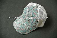 Ladies multi color sequin cover baseball cap