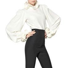 Diseño moda para mujer de la alta calidad de seda blanca blusas para mujer camisas blusas de trabajo oficina de cuello blusa para mujer