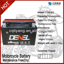 lifan motorcycle / battery for motorcycle 12V 9AH (YTX9-BS)