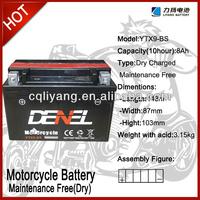 250cc racing lifan-motorcycle parts qianjiang motorcycles / battery for motorcycle 12V 9AH (YTX9-BS)