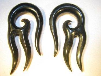 Horn Diablo hanging spiral gauge earrings
