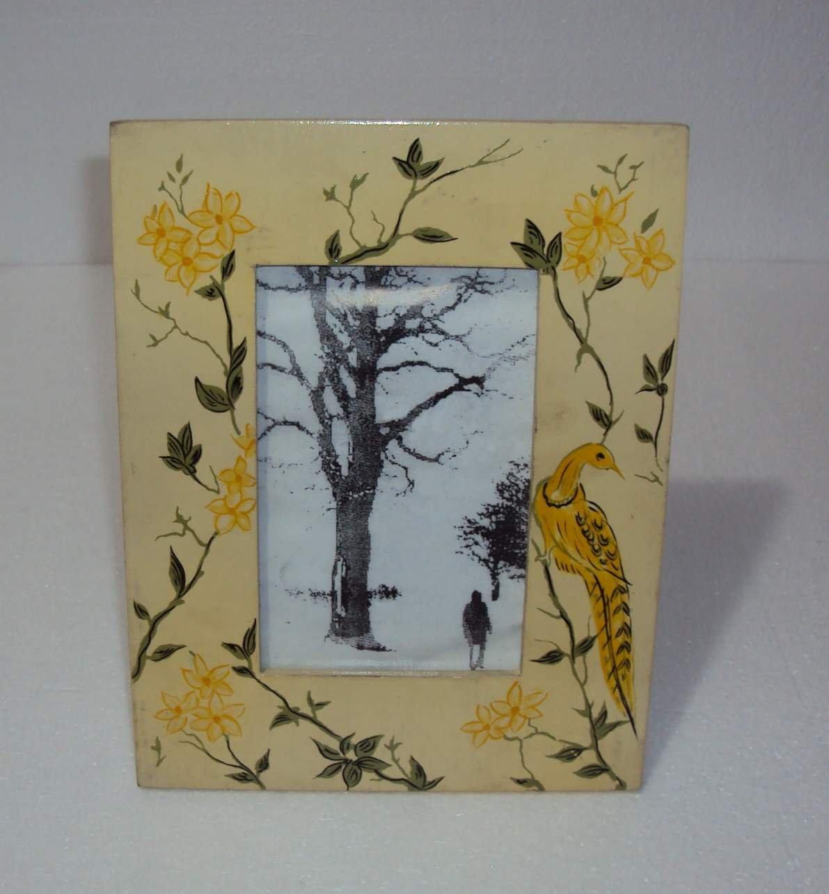 painted tin folk art sage floral frame