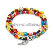 Fashion skull wing multi color beaded bracelet