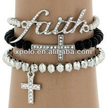 charm alloy faith and cross set of three stretch bead bracelet