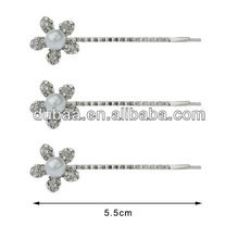 Hair Bobby Pin Simulated Pearl with Crystal Fine Silver Plated Hair Pin,Hair Slide Wholesale,Flower Hair Clips OEM/ODM