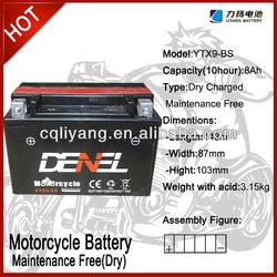 tricycle MOTORCYCLE/motorcycle parts japan ytx9 12V 9AH (YTX9-BS)