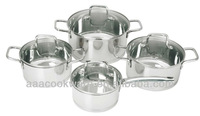 8Pcs Geman Technologic Capsule bottom China Stainless Steel Cookware Set,glass lid household pots and pans suit for induction