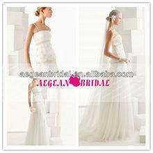De correas espaguetis escote cuadrado blusa embellecida de boda de Cinderella vestidos