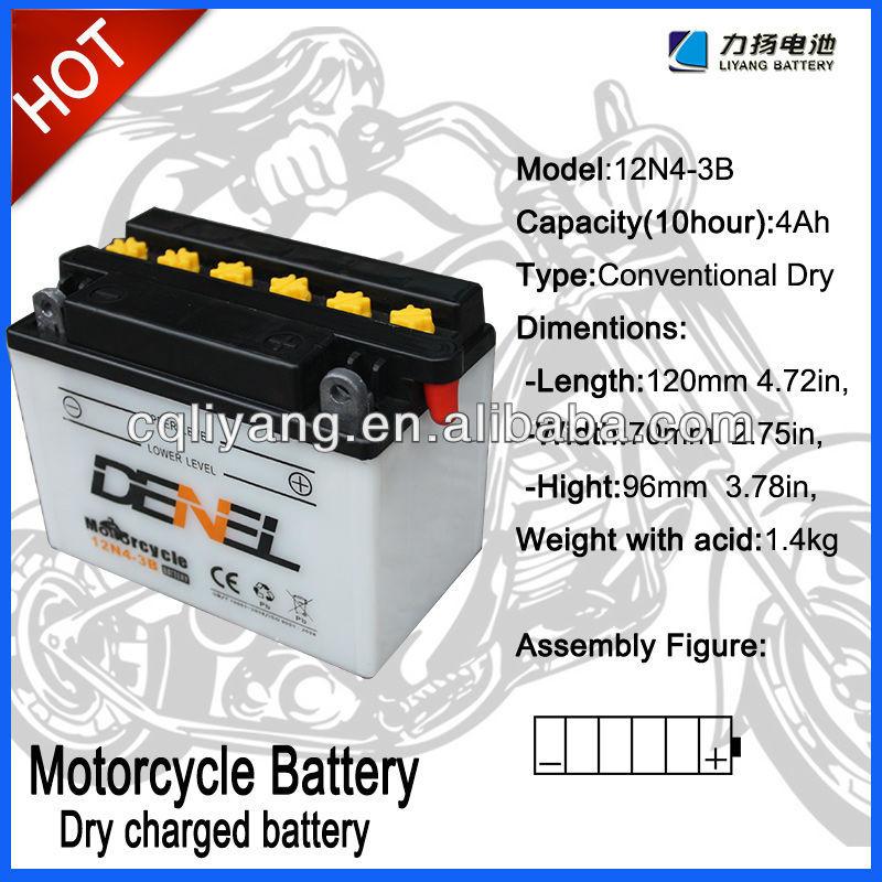 STANDARD MOTORCYCLE BATTERY FOR FLOODED 12N4-3B(12V 4AH)