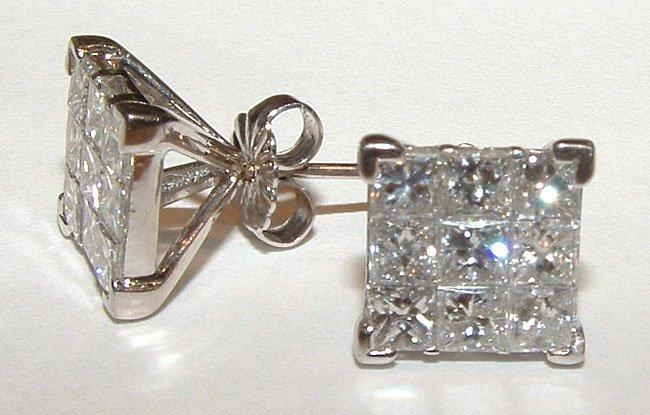 1 carat princess cut diamond earrings in white gold