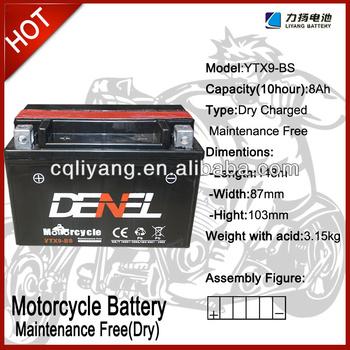cheap battery operated string lights/motorcycle parts japan ytx9 12V 9AH (YTX9-BS)