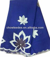 CL9078-2 Newest 100% cotton embroidery big flower 5 yards royal blue rhinestone fashion lace fabric