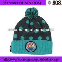 Popular applique cheap cute crochet beanie hat with braid