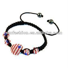 Shamblla bracelet,USA flag shamblla beads,USA flag bracelet,heart shamblla beads