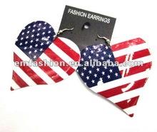 Fashion heart shape earring,earring with USA flag,USA flag