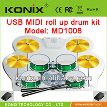 Colorful USB MIDI DRUM KIT Set RED/BLUE/GREEN for 2013 Christmas Promotion