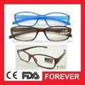 اللون البني والأزرق واضحة r-711 الكامل العين الرخيص pc نظارات القراءة للنساء