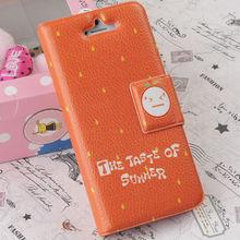 PU leather flip card wallet cute orange fresh fruit series case for iphone 5