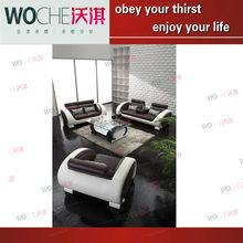 teak wood sofa modern leather sofa fashion design(WQ6827)