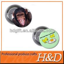 monkey/chicken lovely metal animal tin badge