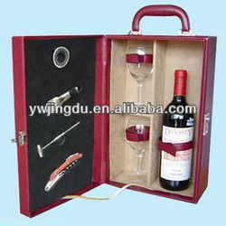 top grade high quality portable wooden red wine chest with glass accessories
