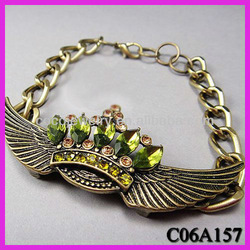 European and American retro textured bronze bracelet/green diamond crown Wings bracelet