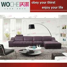 2013 popular purple furniture leather chaise fashion colour modular sofa(WQ6881)